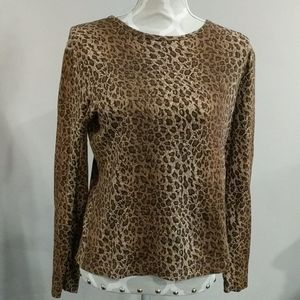 Jones of New York long sleeve leopard top